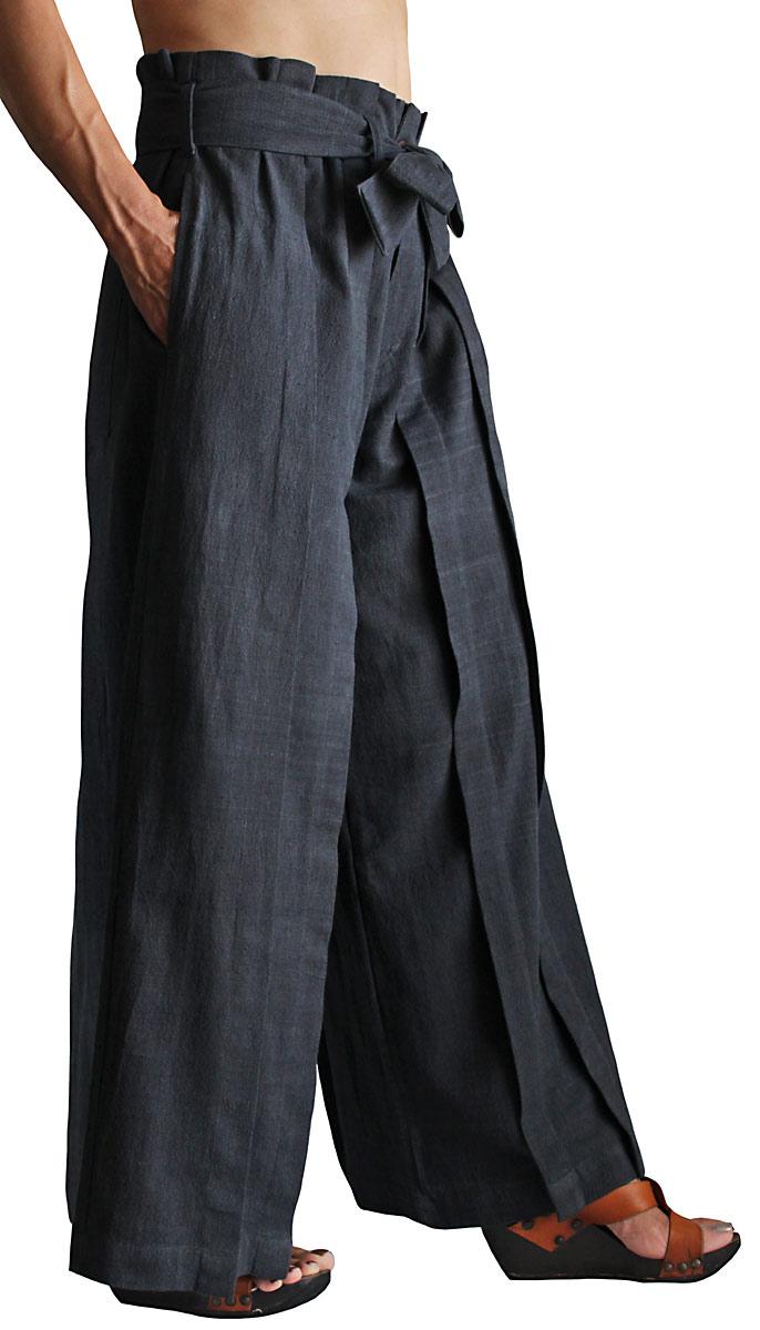 ジョムトン手織り綿の袴パンツ(墨黒・Mサイズ)