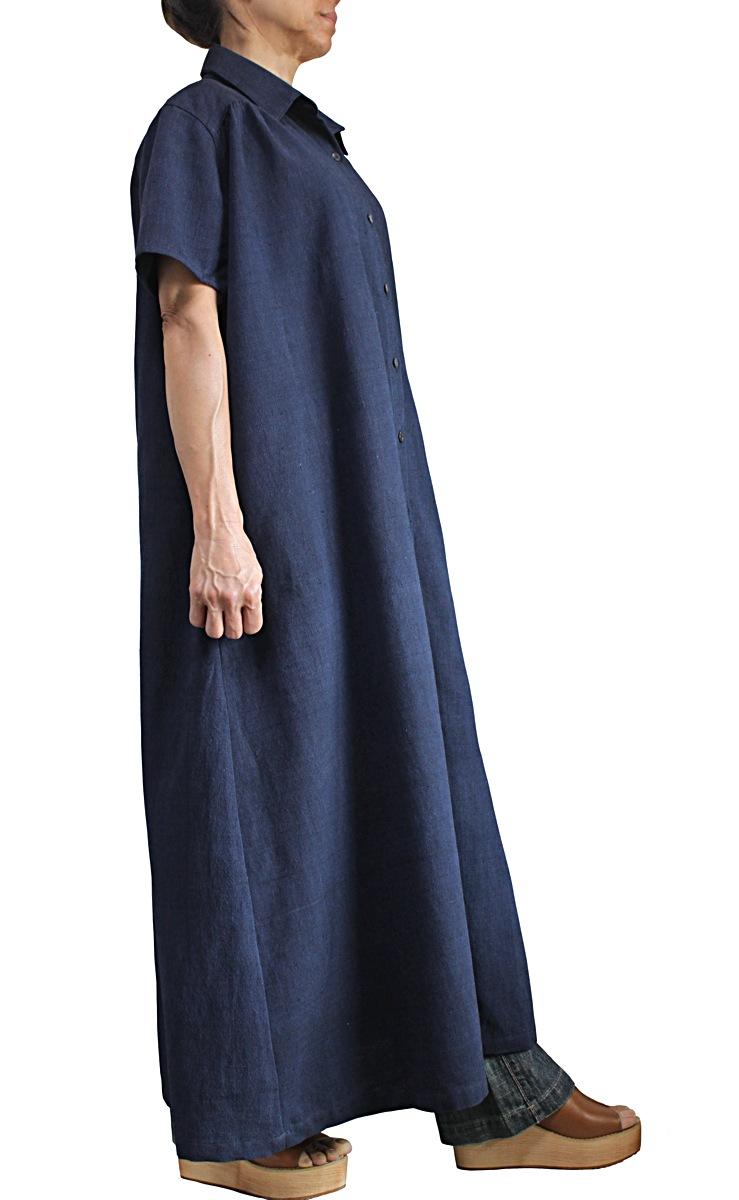 ジョムトン手織り綿半袖ドレスコート(インディゴ紺・JFS-156-03)