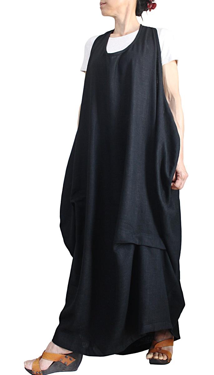 柔らかヘンプのノースリーブゆったりドレス(黒)