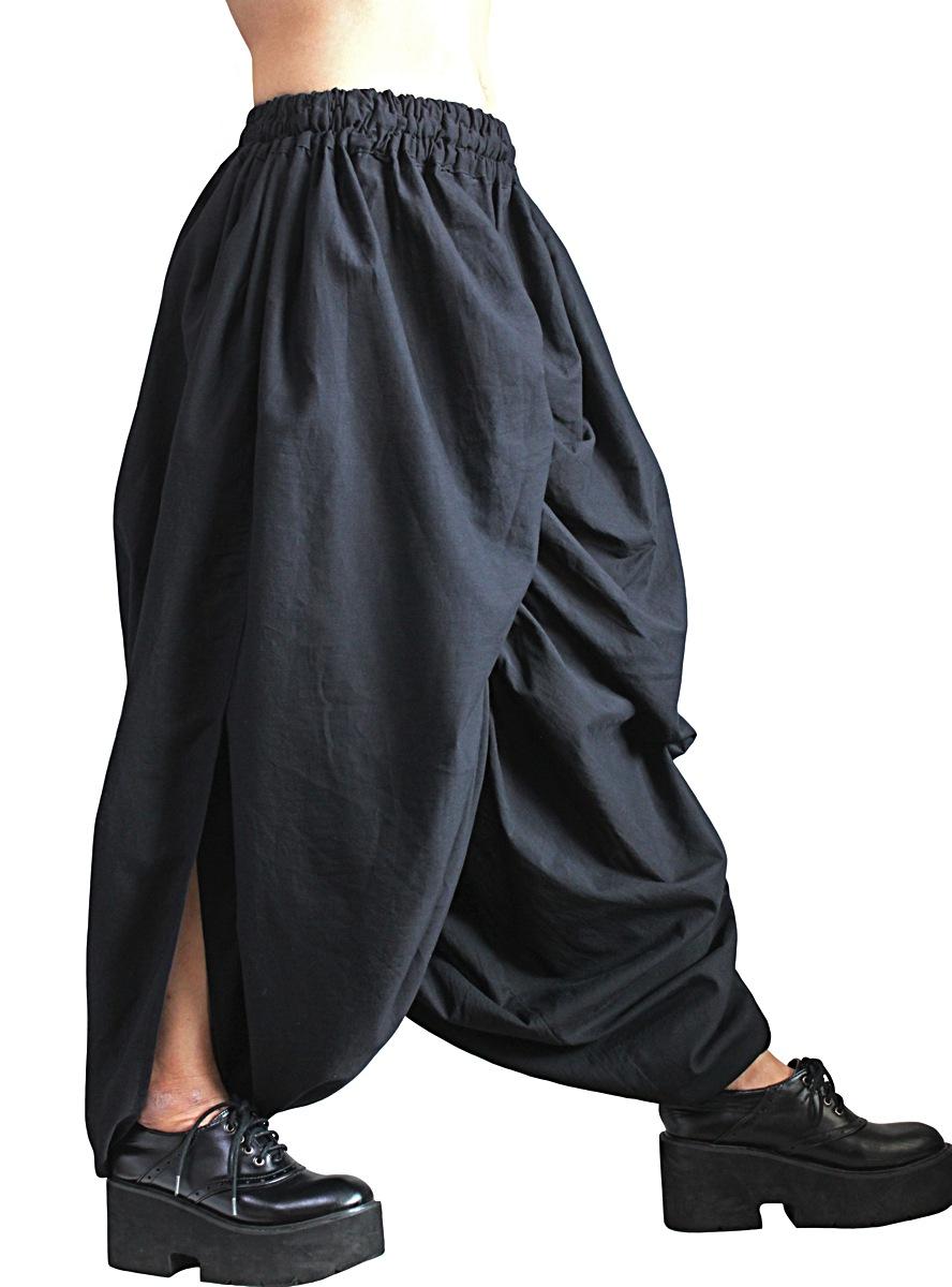 柔らかコットンデザインパンツ(黒)