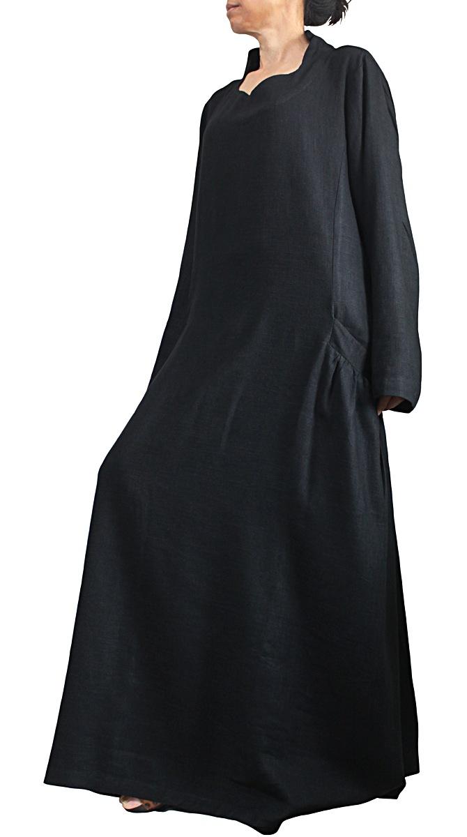 柔らかヘンプのエレガントロングドレスNo7(黒)