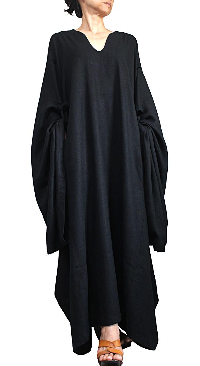 柔らかヘンプのエレガントカフタンドレス(黒)