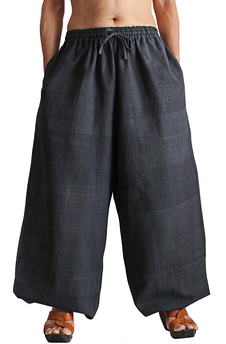 ジョムトン手織り綿のワイドパンツ(墨黒)