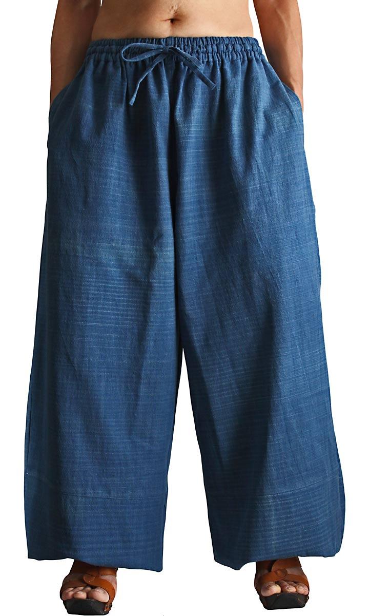 ジョムトン手織り綿のワイドパンツ(インディゴ)