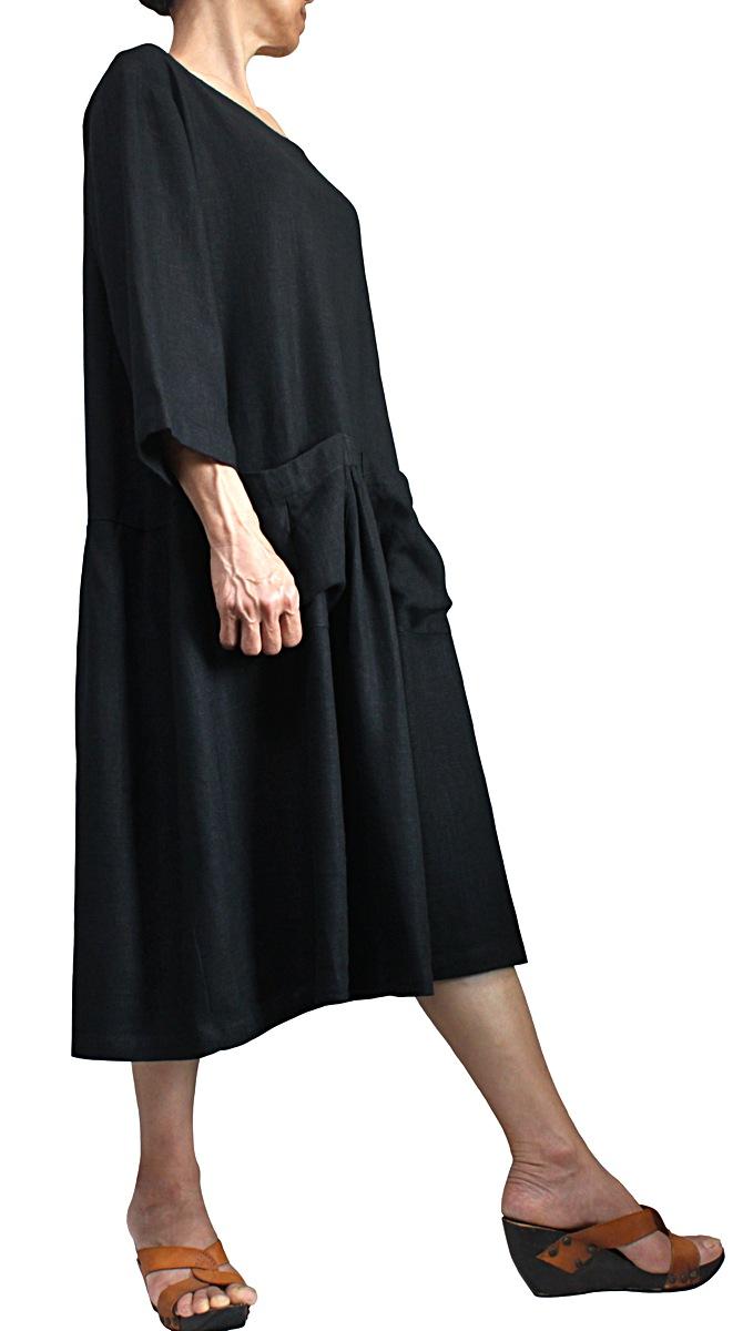 柔らかヘンプの前ポケットミディアムドレス(黒)