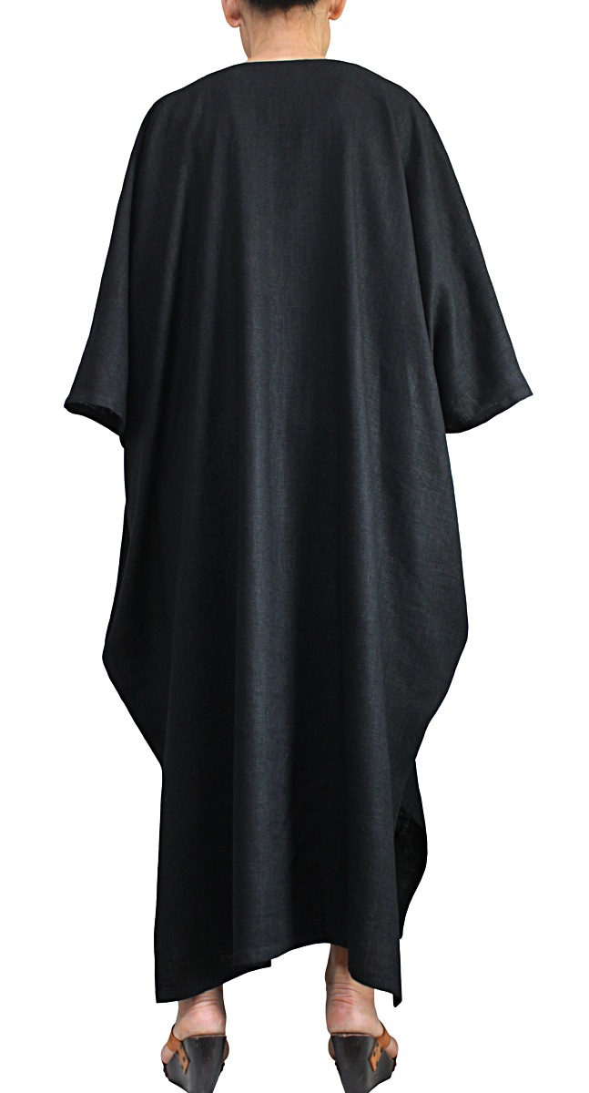 柔らかヘンプのシンプルカフタンドレス(黒)