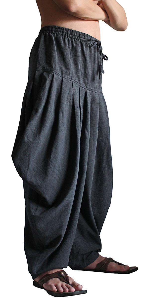 ジョムトン手織綿サルワール風ドレープパンツ