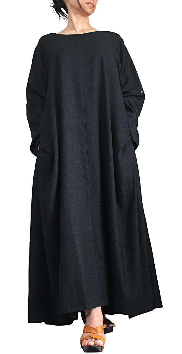 柔らかヘンプのエレガントロングドレスNo5(黒)