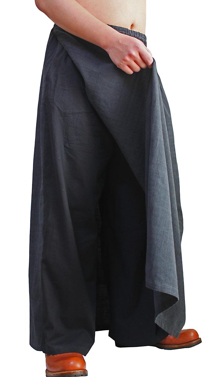 ジョムトン手織り綿のメンズスカートパンツ(墨黒)