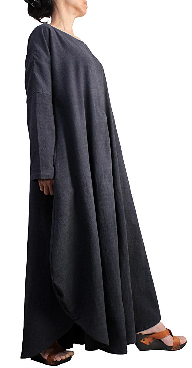 ジョムトン手織り綿のロングドレス No.3(墨黒)