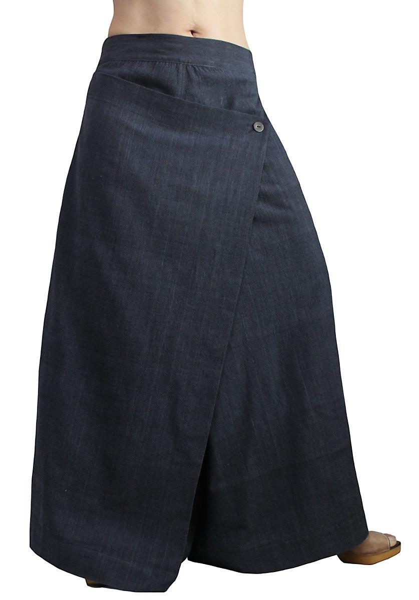 ジョムトン手織り綿の前掛け付きモン風ワイドパンツ(墨黒)