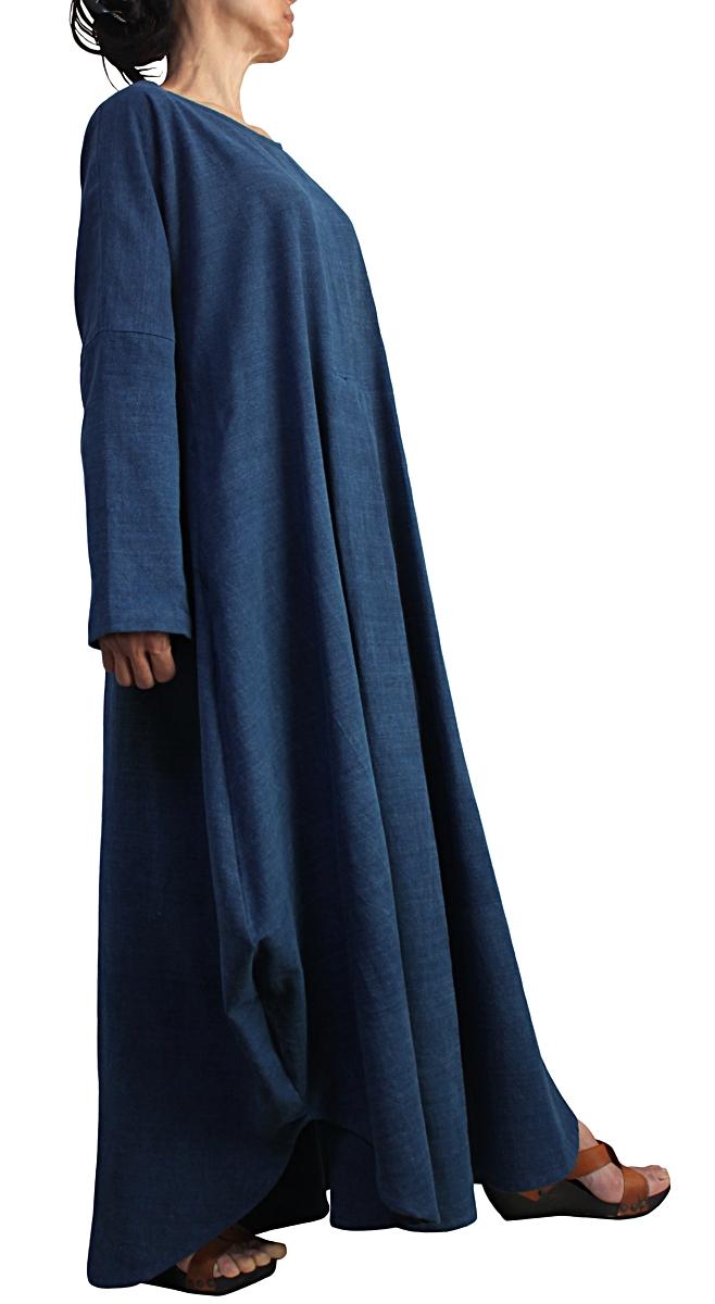 ジョムトン手織り綿のロングドレス No.3(インディゴ)