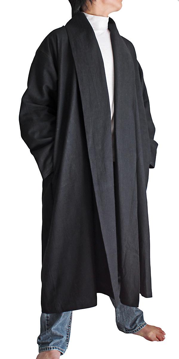 ヘンプのローブコート(黒)