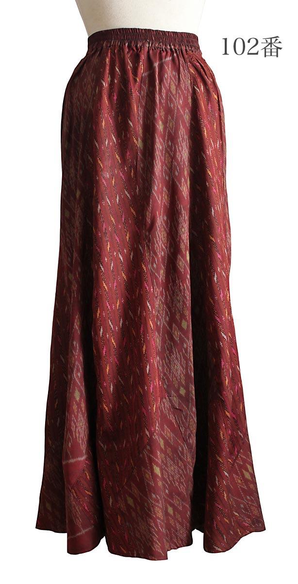 オールドタイシルクデザインロングスカート