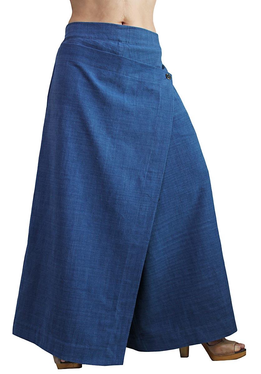 ジョムトン手織り綿の前掛け付きモン風ワイドパンツ(インディゴ)