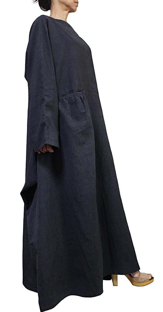 ジョムトン手織り綿のロングドレス No.2(墨黒)