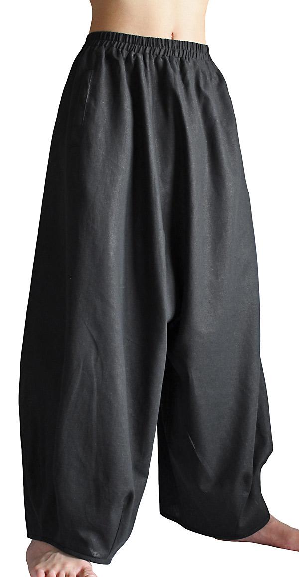 ジョムトン手織り綿のアラジン風ゆったりパンツ(黒)