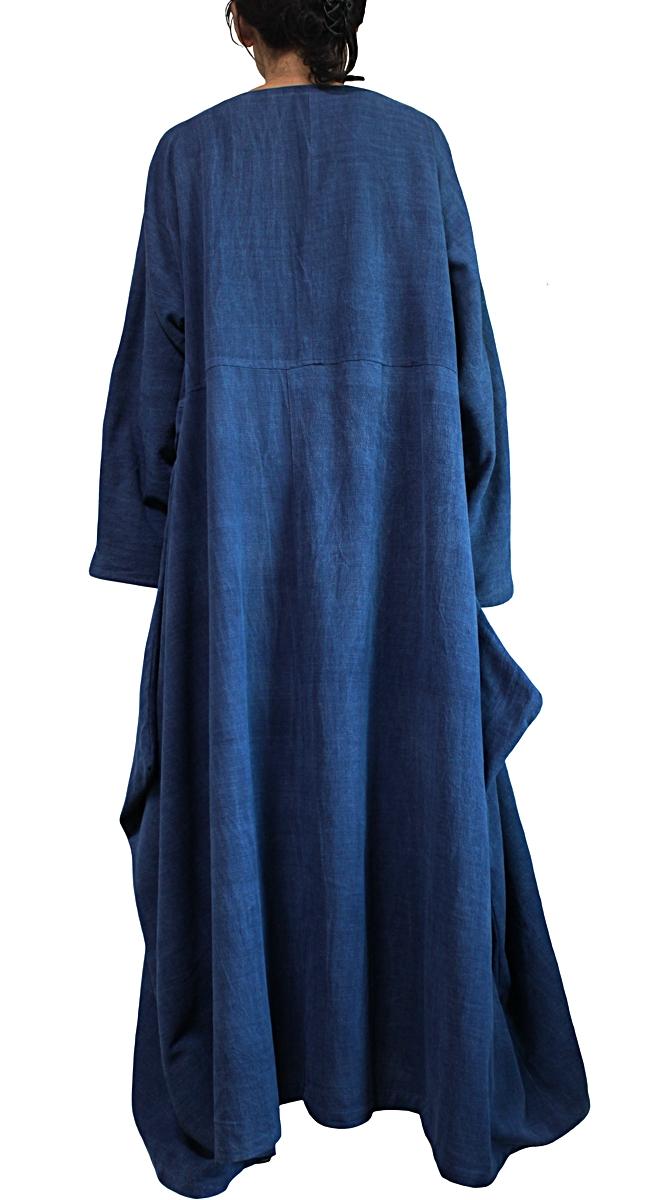 ジョムトン手織り綿のロングドレス No.2(インディゴ)