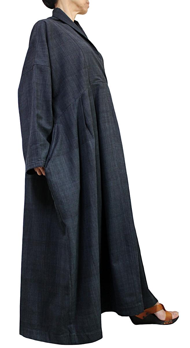 ジョムトン手織り綿のロングドレス No.1(墨黒)