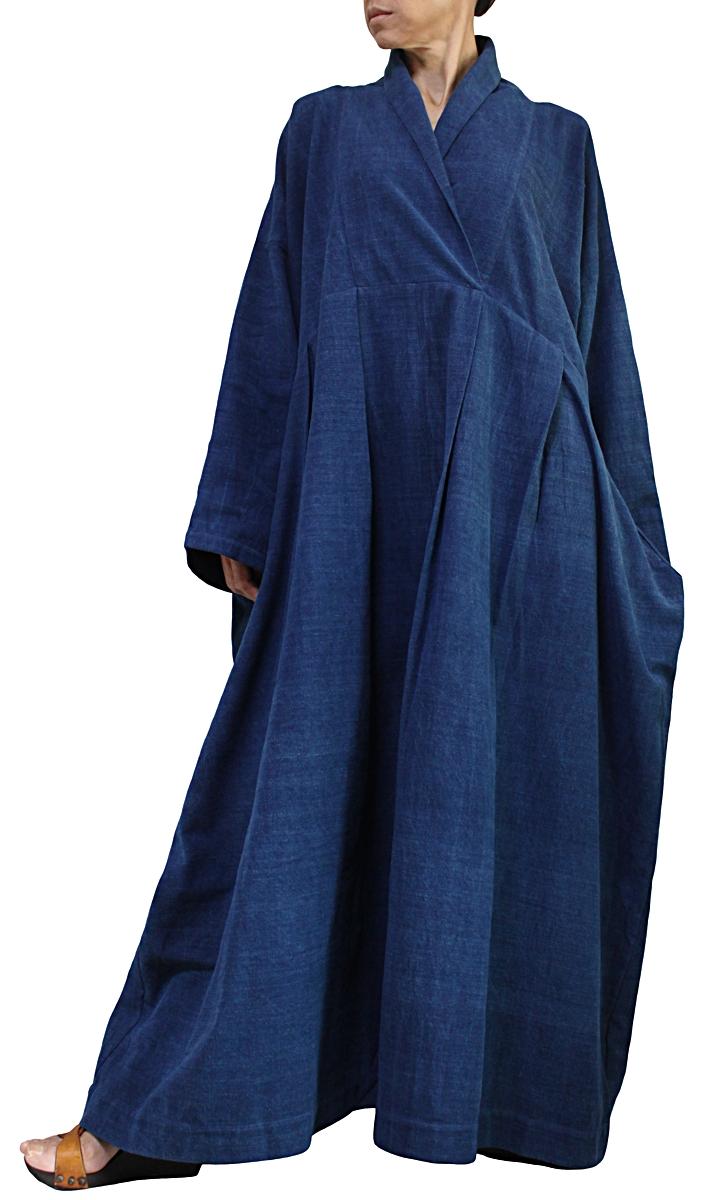 ジョムトン手織り綿のロングドレス No.1(インディゴ)