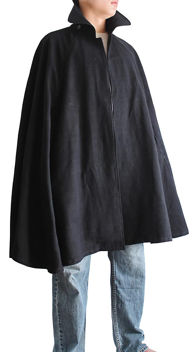 ジョムトン手織り綿マント裏付き(黒)