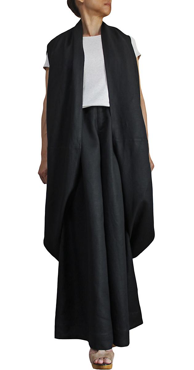 リネン100%のマキシ丈ワイドパンツ(黒)