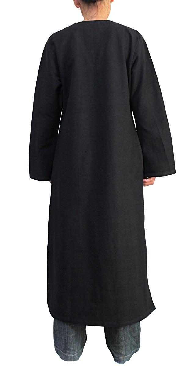 ジョムトン手織り綿のカミーズドレス(黒)