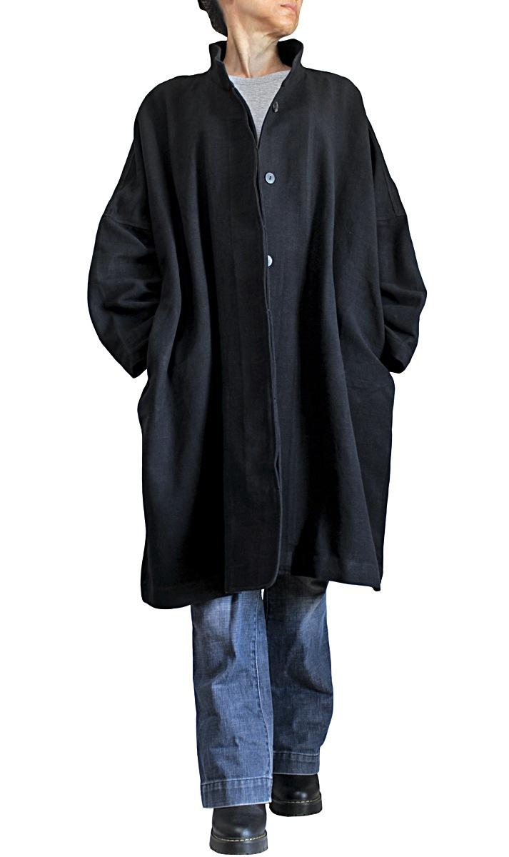 ジョムトン手織り綿ゆったりチャイナカラーコート(黒)