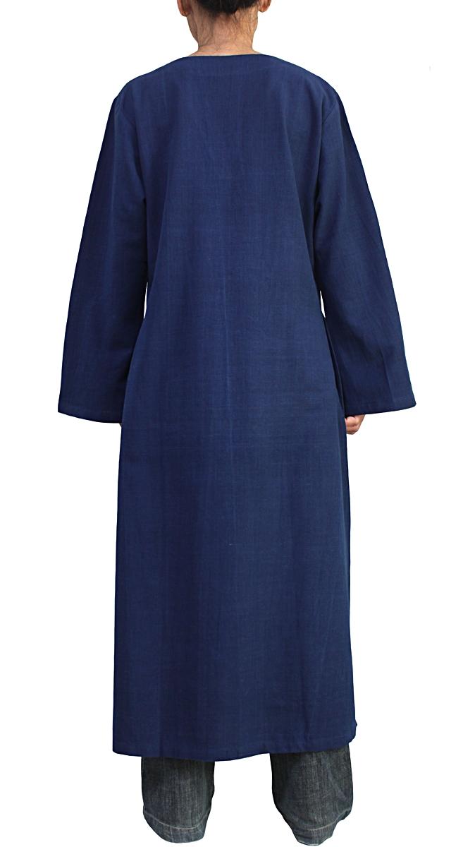 ジョムトン手織り綿のカミーズドレス(インディゴ)