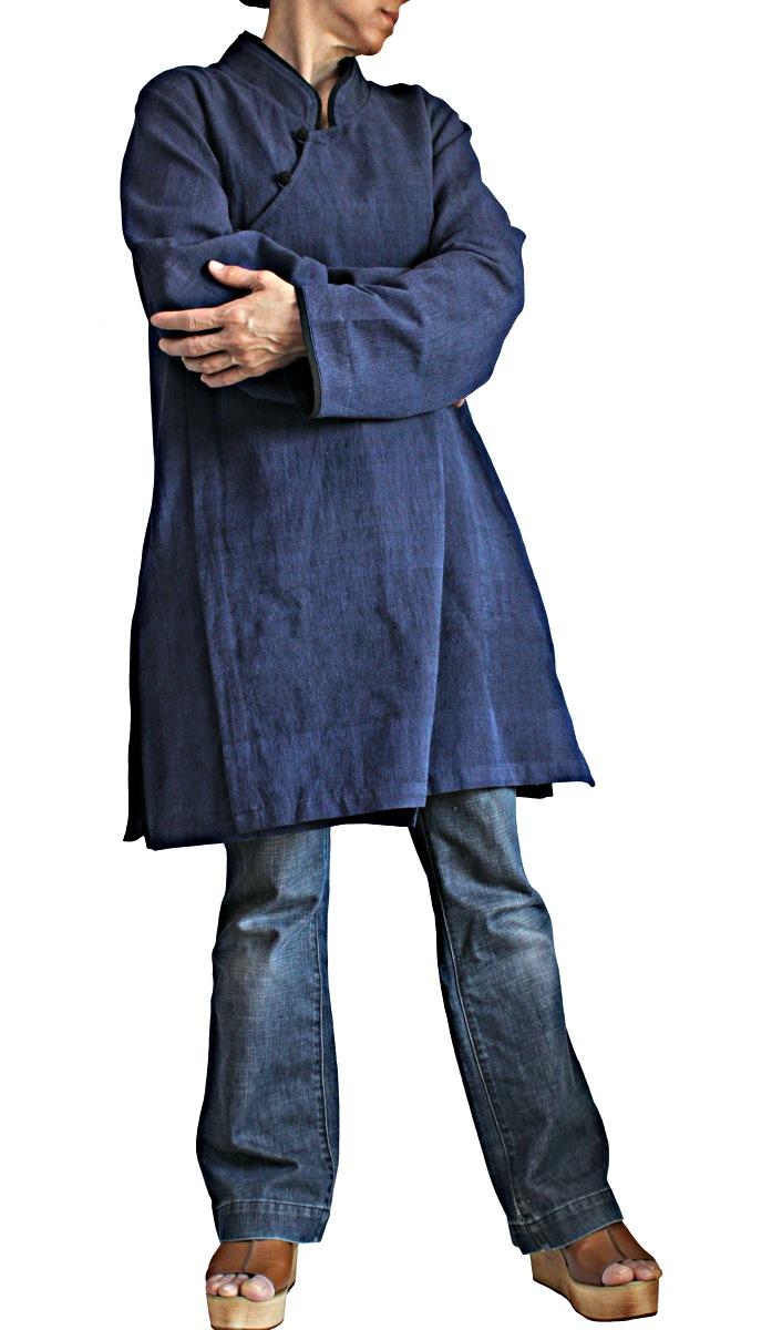 ジョムトン手織り綿チャイナチュニック(インディゴ紺)