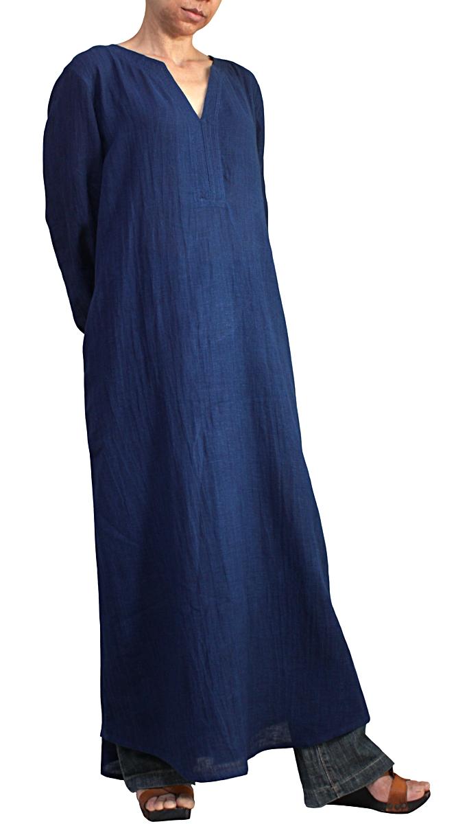 リネンコットンのカミーズロングドレス