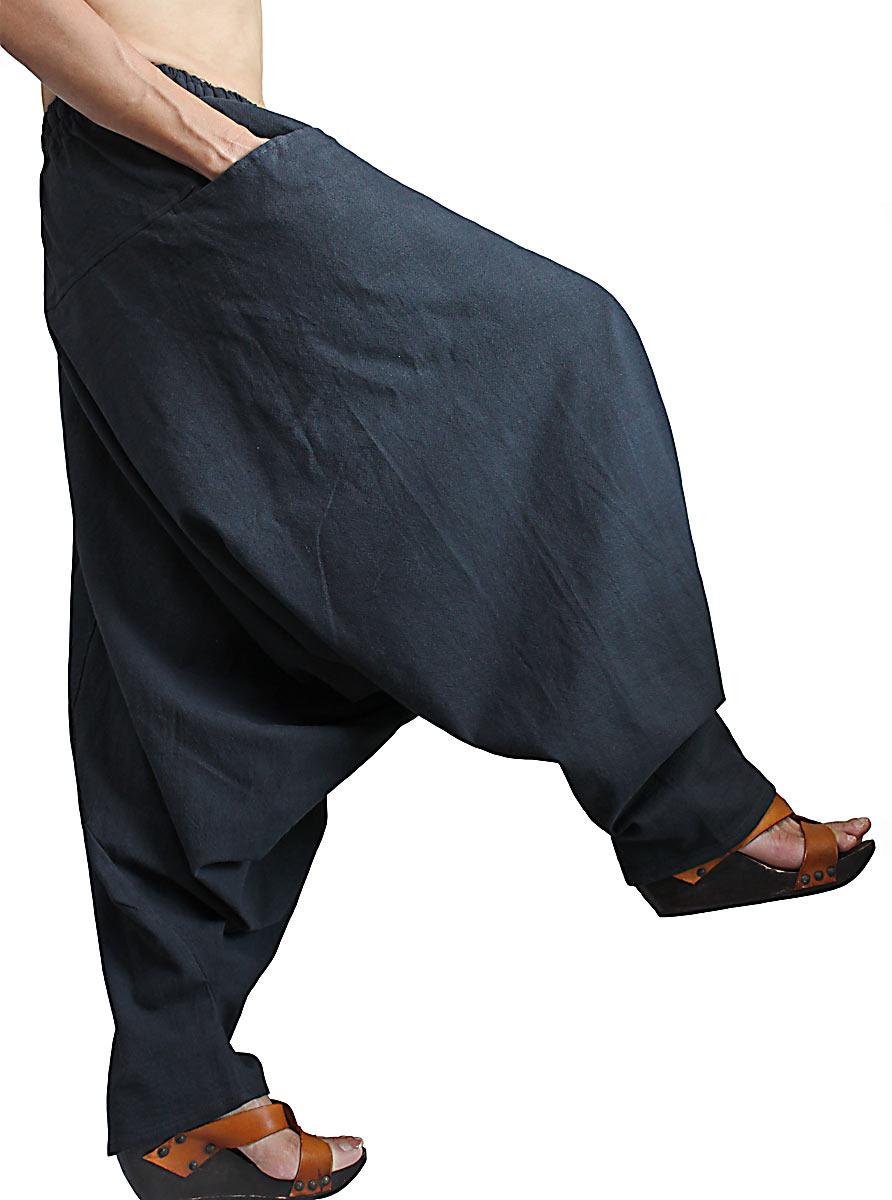ジョムトン手織り綿のモンパンツ(墨黒)