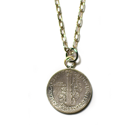 Button Works Mercury Dime Coin Necklace Star