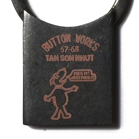 Button Works Black Line Vintage Key Ring Rectangle