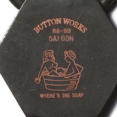 Button Works Black Line Vintage Key Ring Hexagon