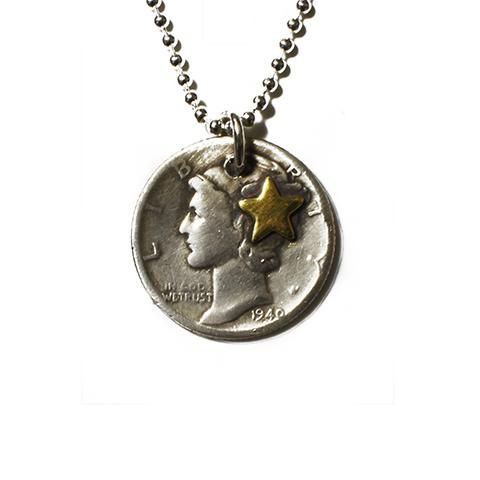 Button Works Mercury Dime Coin Necklace-FC