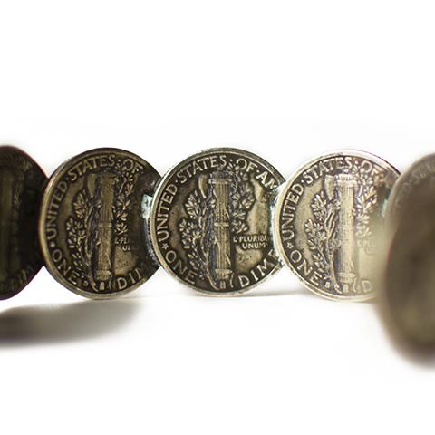 Button Works Mercury Dime Coin Bangle Medium