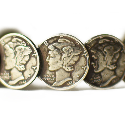 Button Works Mercury Dime Coin Bangle Large