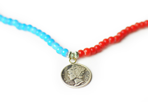 Button Works White Hearts Necklace with Mercury Dime