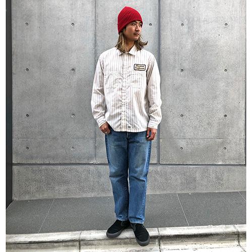 SD T/C Stripe Work Shirt Long Sleeve