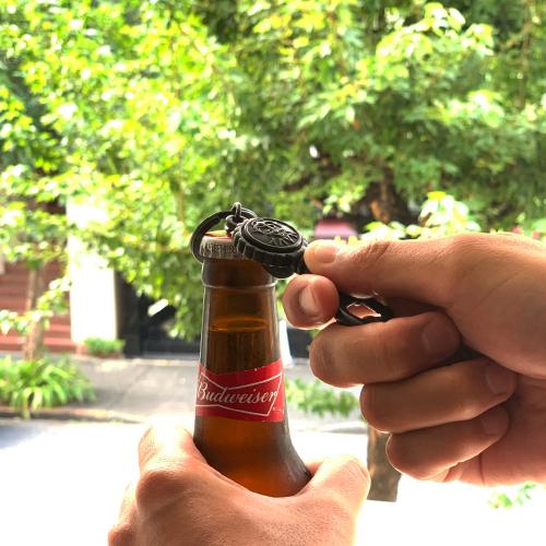 BUTTON WORKS Black Line Navy Bottle Opener Key Holder