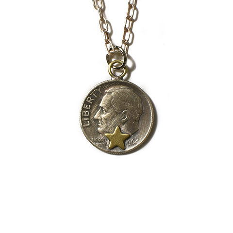 Button Works Roosevelt Dime Coin Necklace Star