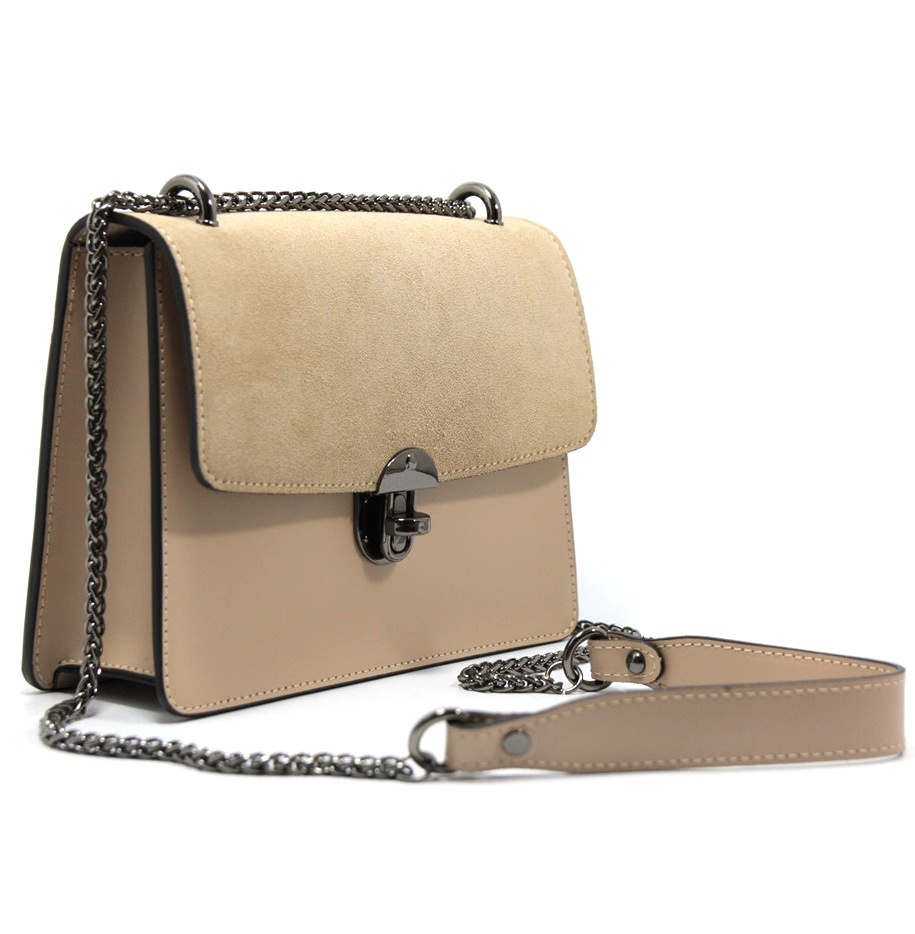 LEATHER AND SUEDE CROSSBODY BAG TRACOLLA_0037_CA COLOR: CAMEO