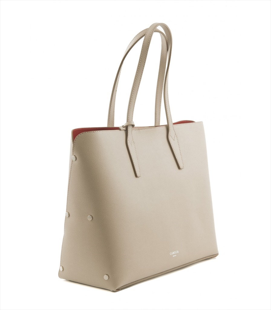 GRAINED LEATHER TOTE BAG SHOPPING_0011_TA COLOR: TAUPE