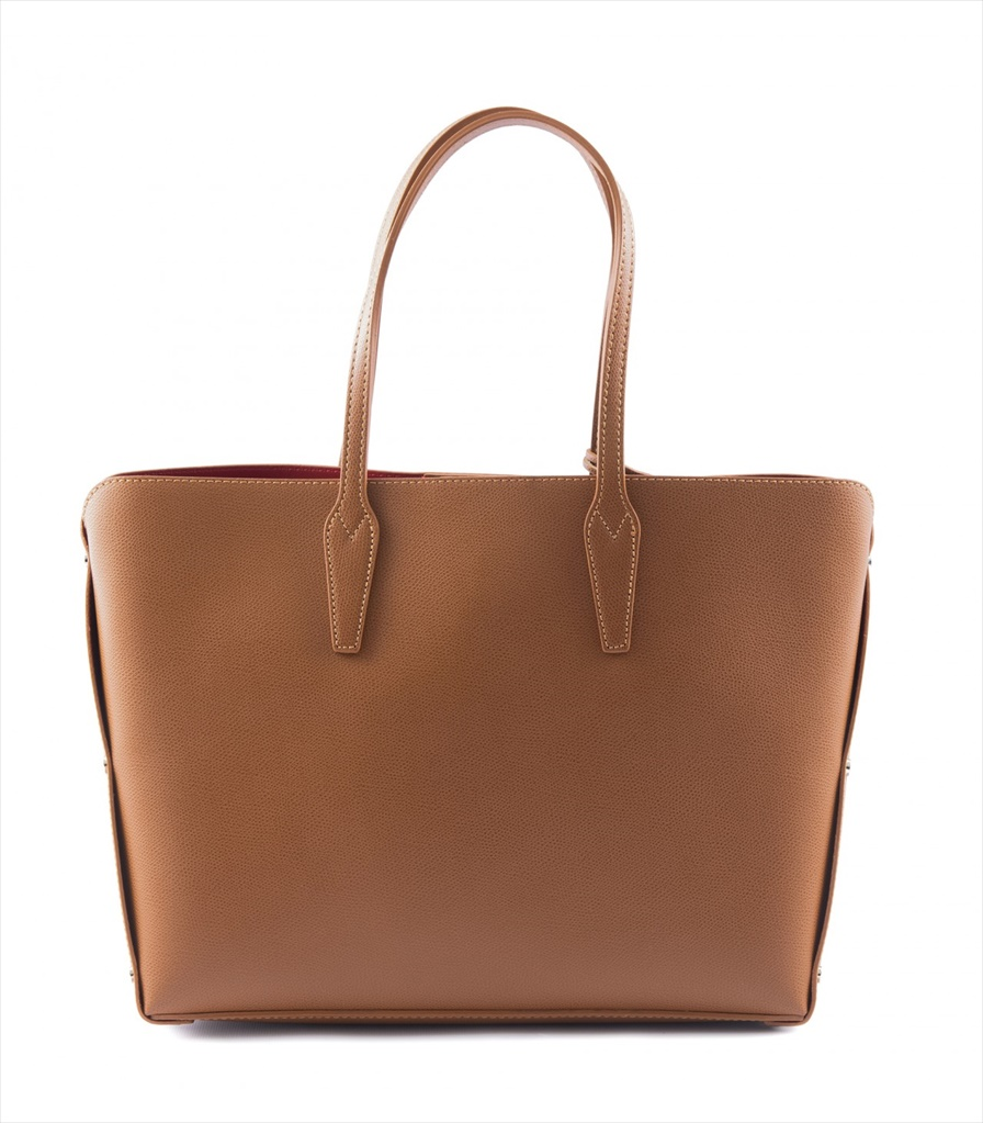 GRAINED LEATHER TOTE BAG SHOPPING_0011_CU COLOR: LIGHT BROWN