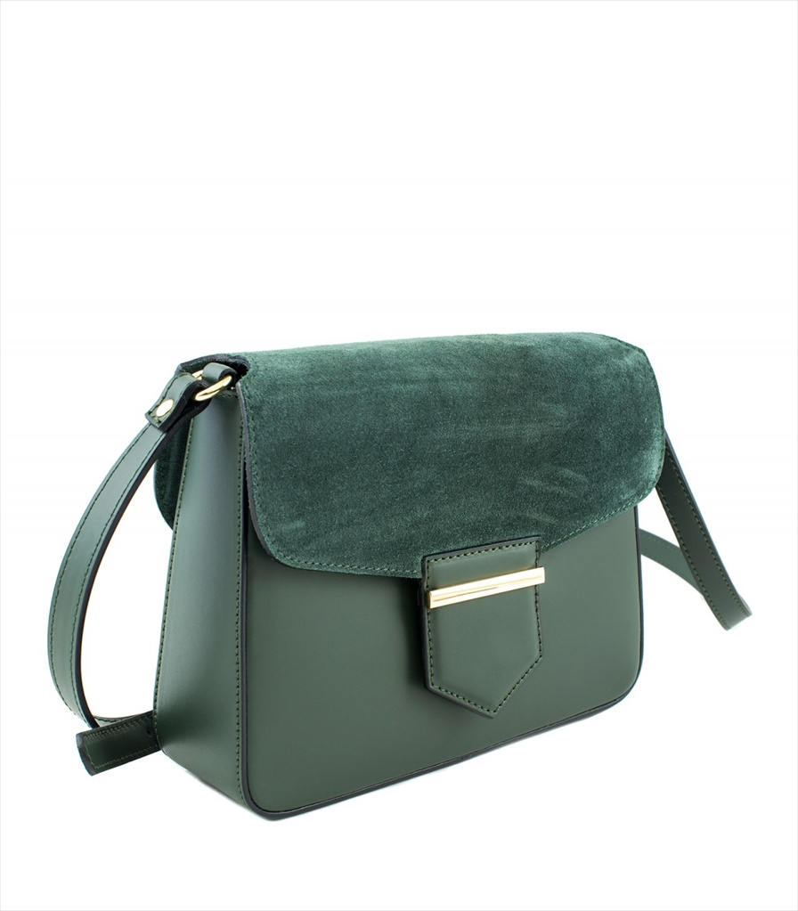 LEATHER AND SUEDE CROSSBODY BAG TRACOLLA_0033_VE COLOR: GREEN