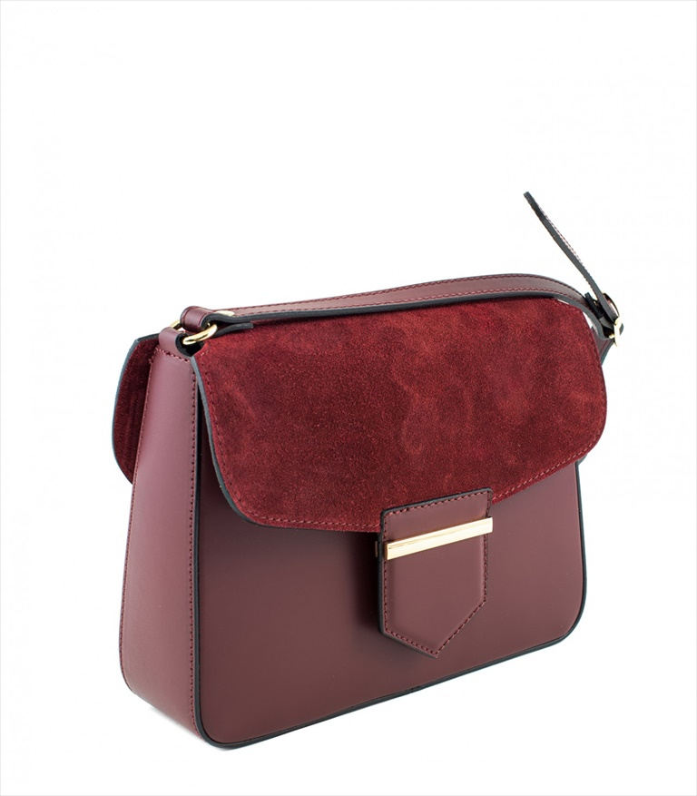 LEATHER AND SUEDE CROSSBODY BAG TRACOLLA_0033_BO COLOR: RED WINE