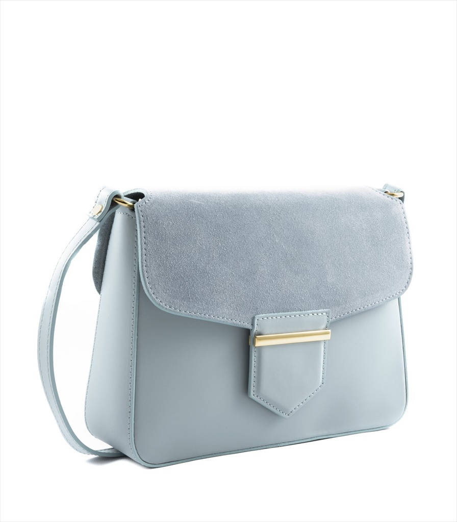 LEATHER AND SUEDE CROSSBODY BAG TRACOLLA_0033_CL COLOR: LIGHT BLUE