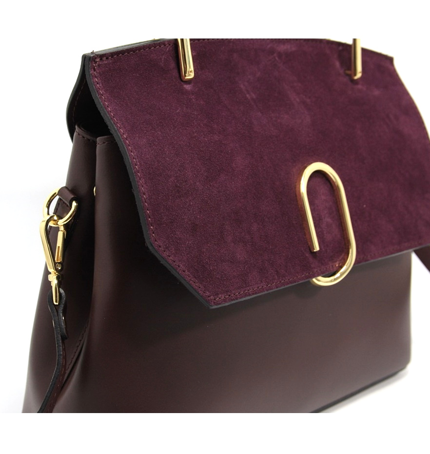 LEATHER AND SUEDE HANDBAG BORSAMANO_0031_BO COLOR: RED WINE
