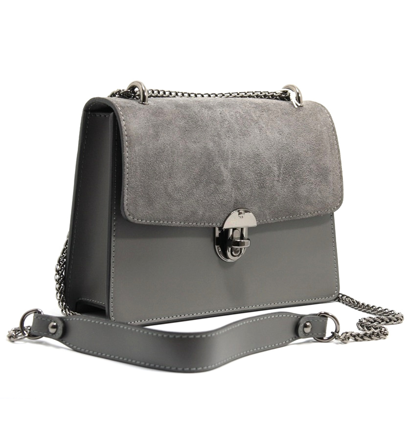LEATHER AND SUEDE CROSSBODY BAG TRACOLLA_0037_GR COLOR: GREY